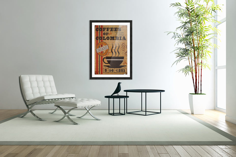 Colombian coffee vintage poster in Custom Picture Frame