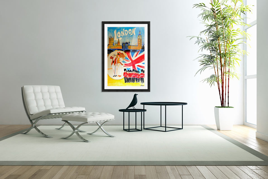Vintage travel poster for London, England in Custom Picture Frame
