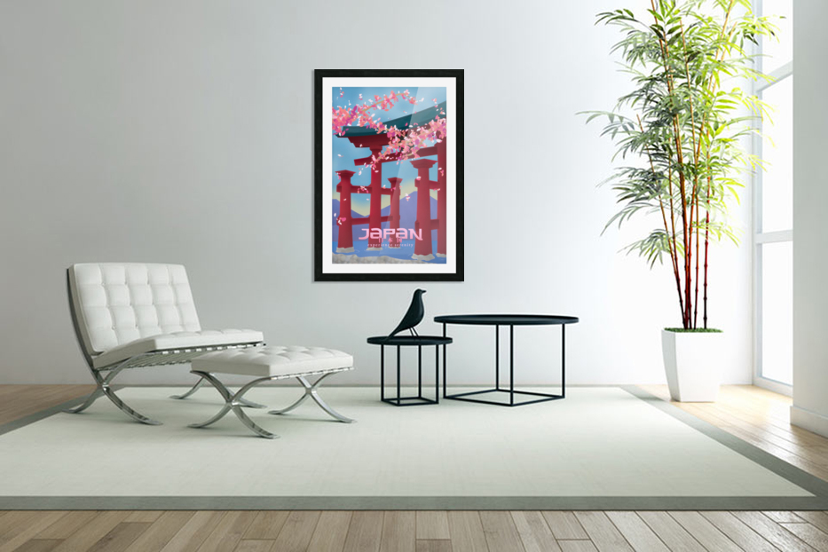 Japan Experience serenity travel poster in Custom Picture Frame