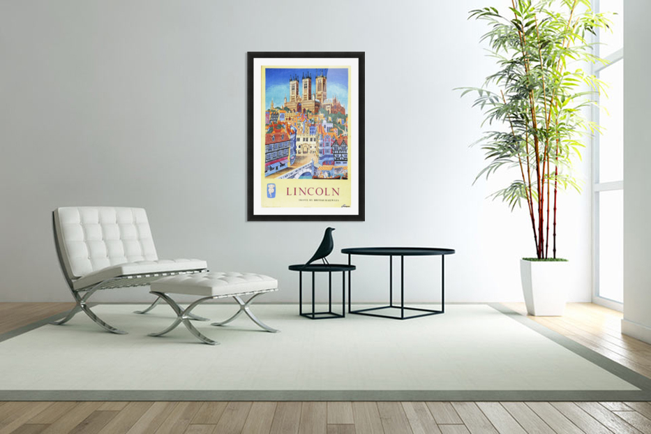Lincoln vintage travel poster for British Railways in Custom Picture Frame