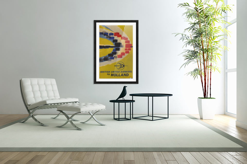 British United Airlines to Holland travel poster in Custom Picture Frame