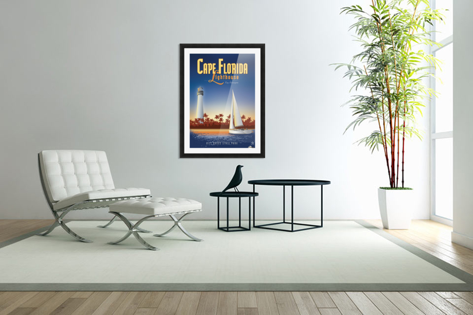 Cape Florida Lighthouse in Custom Picture Frame