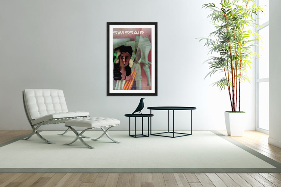 Swiss Air India Travel Art Poster in Custom Picture Frame
