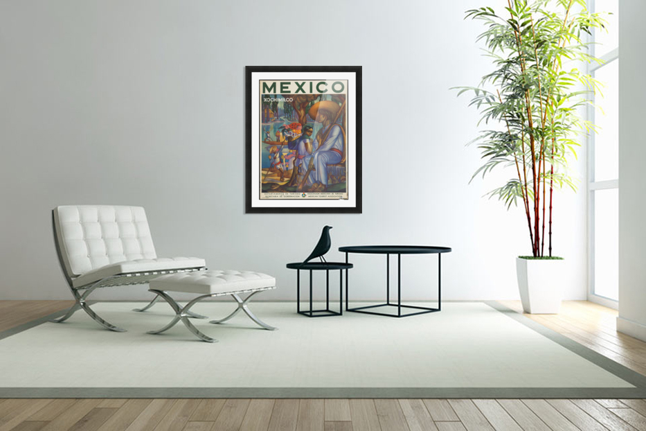 Mexico Xochimilco vintage poster in Custom Picture Frame