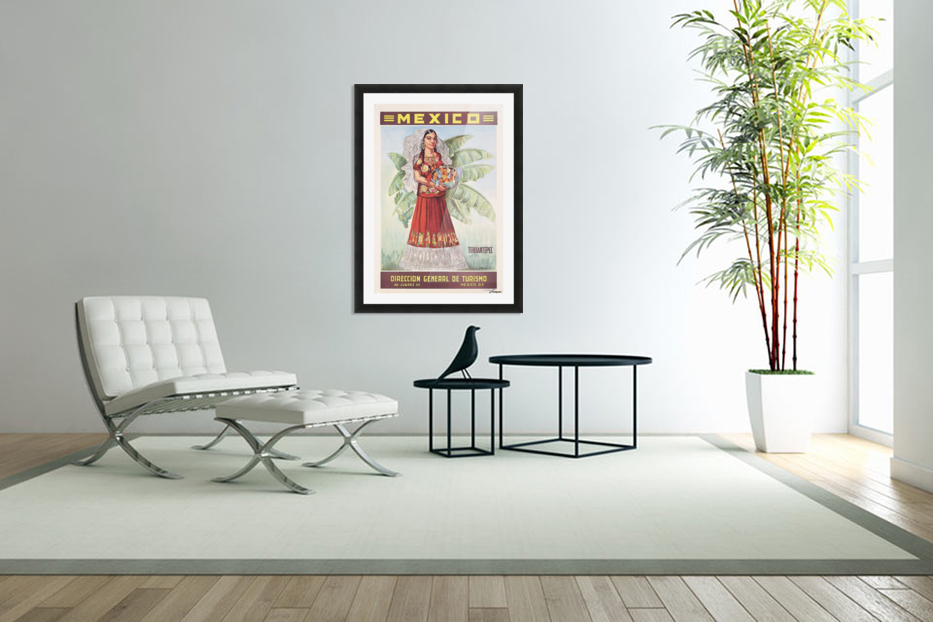 Mexico Tehuantepec vintage poster in Custom Picture Frame