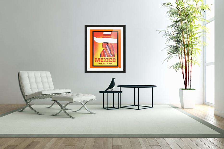 Mexico Travel Print 1968 in Custom Picture Frame