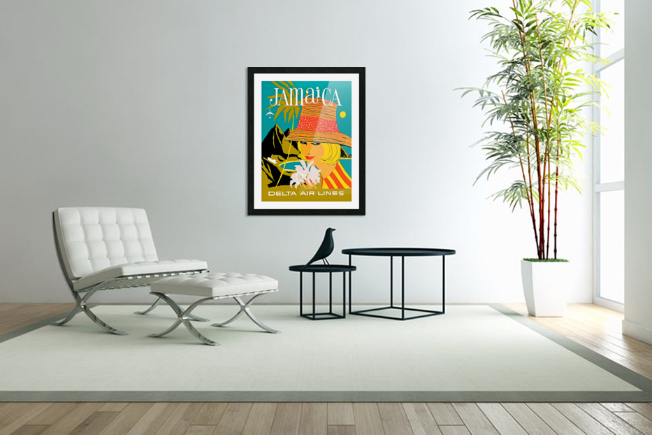 Vintage Jamaica Delta Airlines Poster in Custom Picture Frame