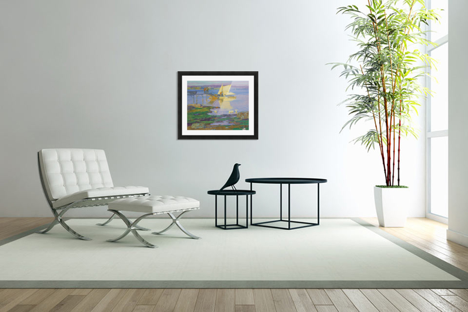 A boat with people by the dock in Custom Picture Frame