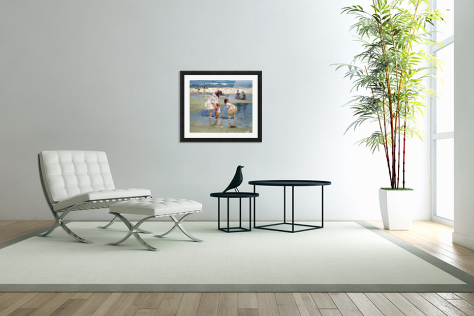 Girls playing in the water in Custom Picture Frame