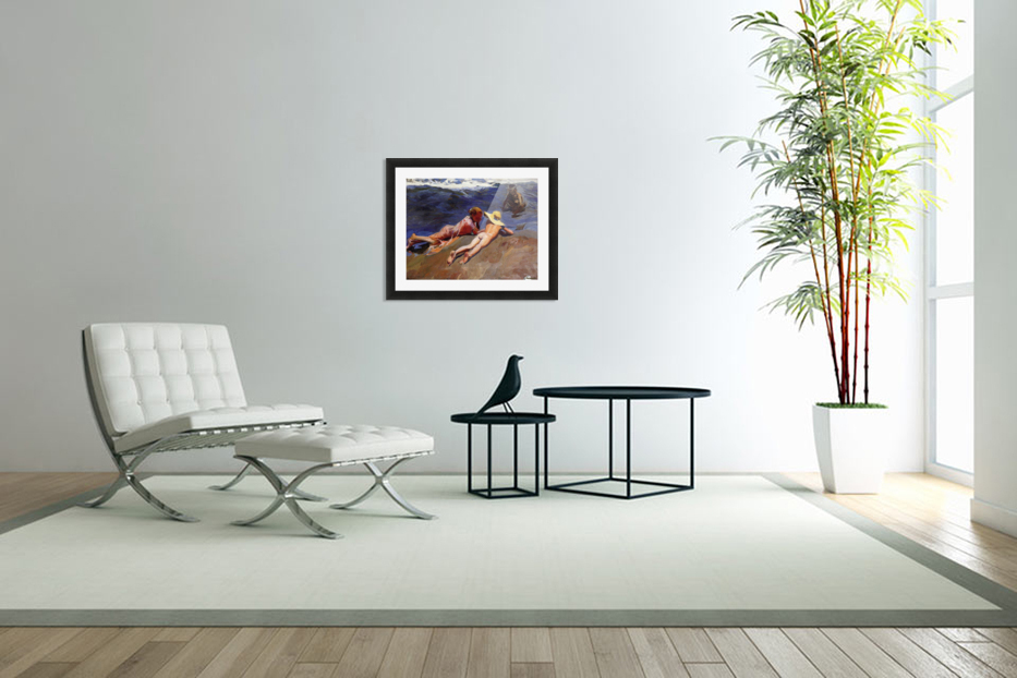 Bathers at Valencia in Custom Picture Frame