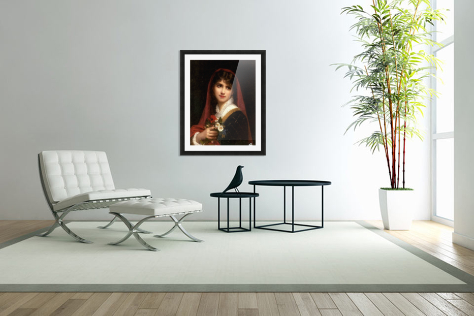 A young beauty wearing a red veil in Custom Picture Frame