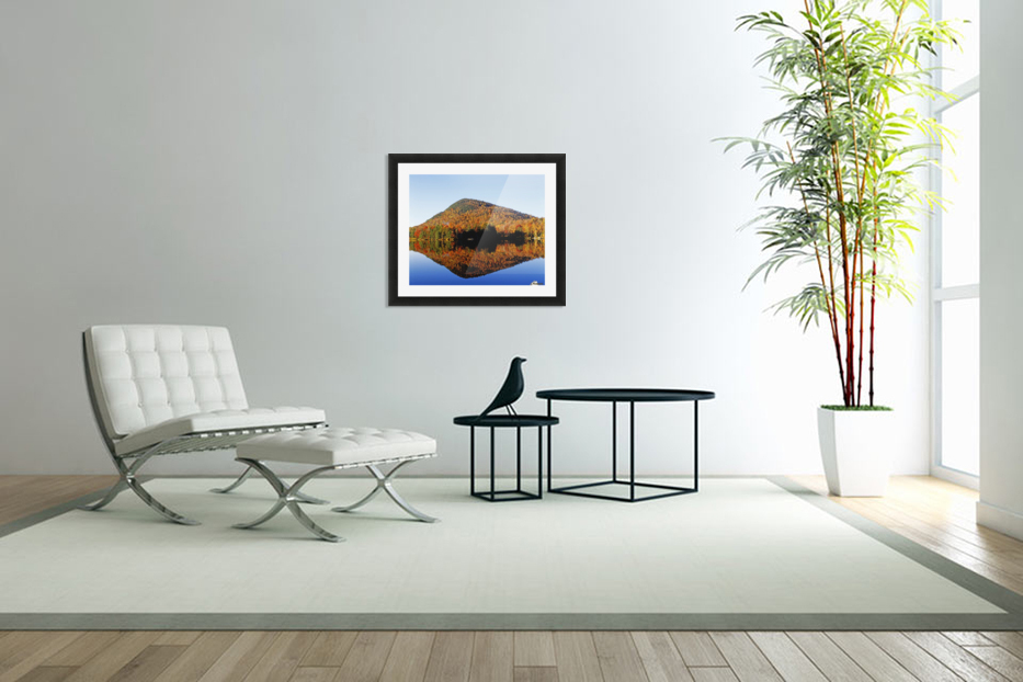 Autumn Colours Reflected In Water, Eastern Townships, Quebec, Canada in Custom Picture Frame