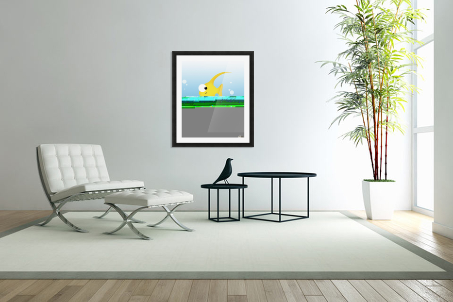 Illustration Of Fish And Bubbles in Custom Picture Frame