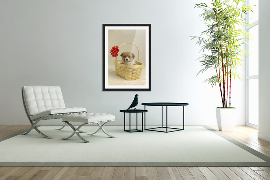 Puppy In A Basket in Custom Picture Frame