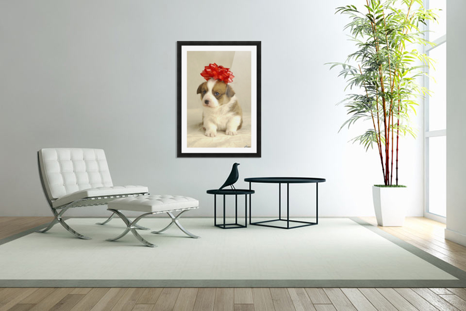 Puppy Wearing A Red Bow in Custom Picture Frame