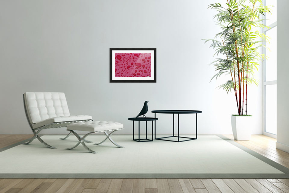 Water Drops On Pink Surface in Custom Picture Frame