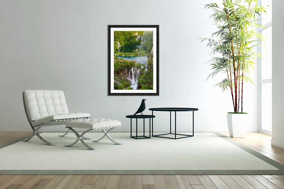 Waterfall Paradise Plitvice Lakes in Croatia in Custom Picture Frame