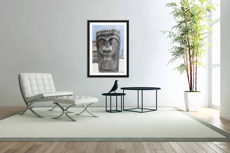 Carving of a face in City of Refuge National Historical Park; Big Island, Hawaii, United States of America in Custom Picture Frame