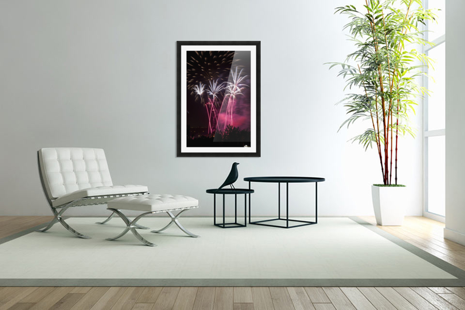 Colourful fireworks at nighttime; Calgary, Alberta, Canada in Custom Picture Frame