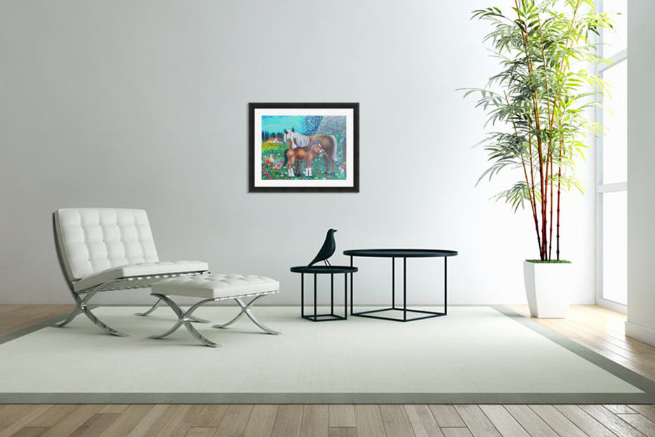 A mare and her foal. in Custom Picture Frame