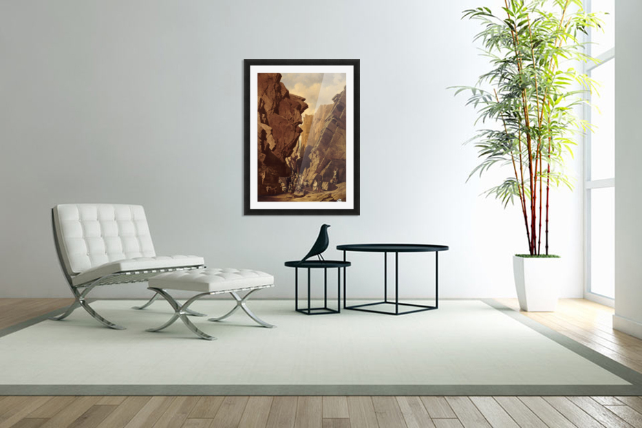 Army passing through the cliffs in Custom Picture Frame