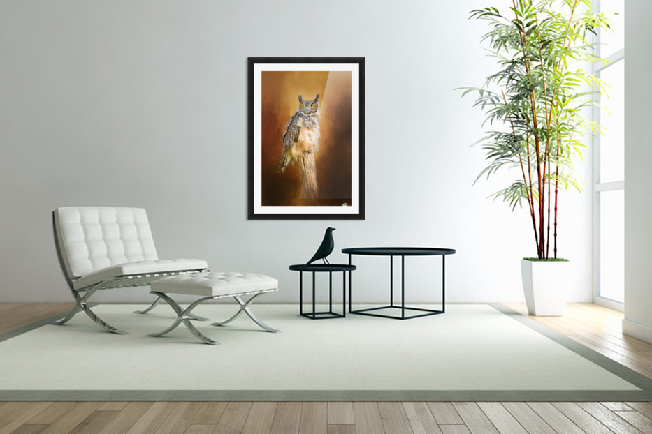 Great Horned Owl In Autumn in Custom Picture Frame