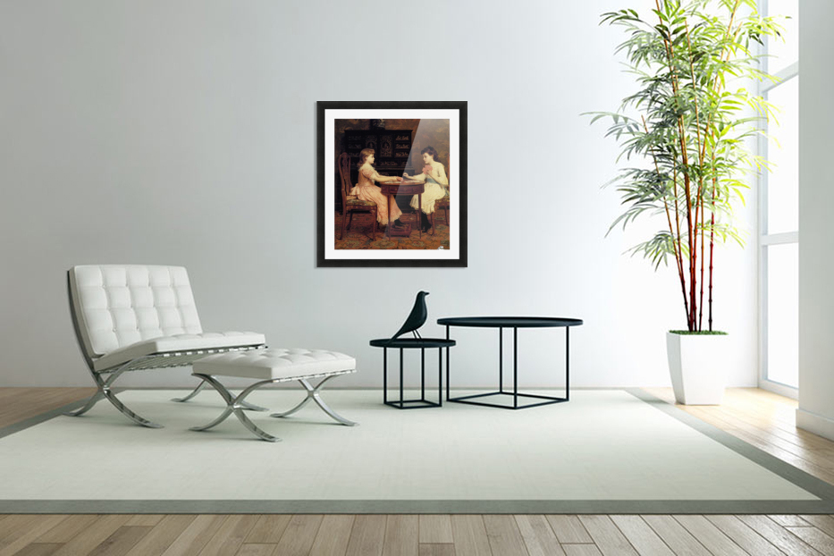 Two girls playing cards in Custom Picture Frame