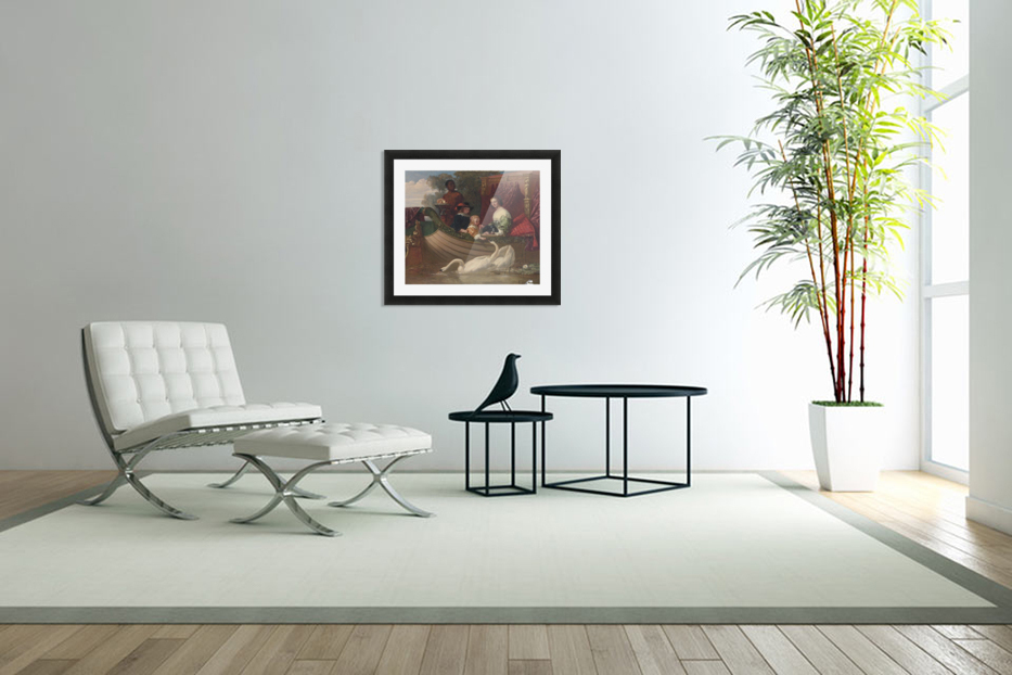 A young family feeding a swan in Custom Picture Frame