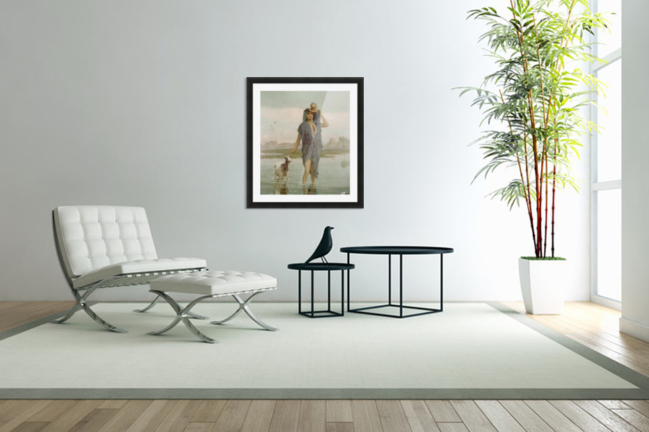 A young mother and a goat in Custom Picture Frame