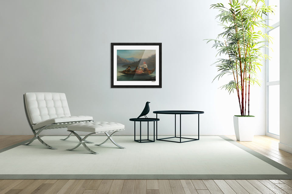Crossing the river with a boat in Custom Picture Frame