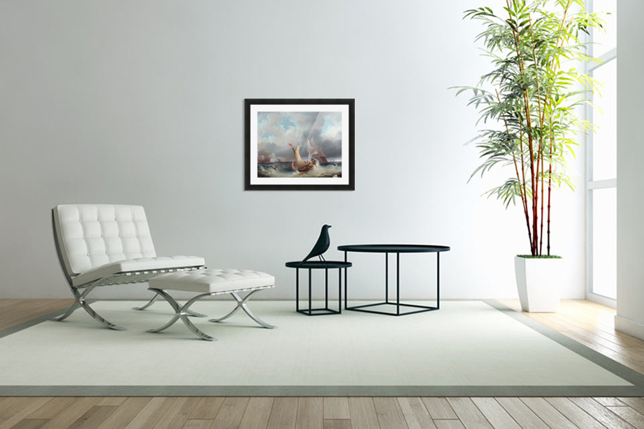Shipping Offshore in a Stormy Sea in Custom Picture Frame