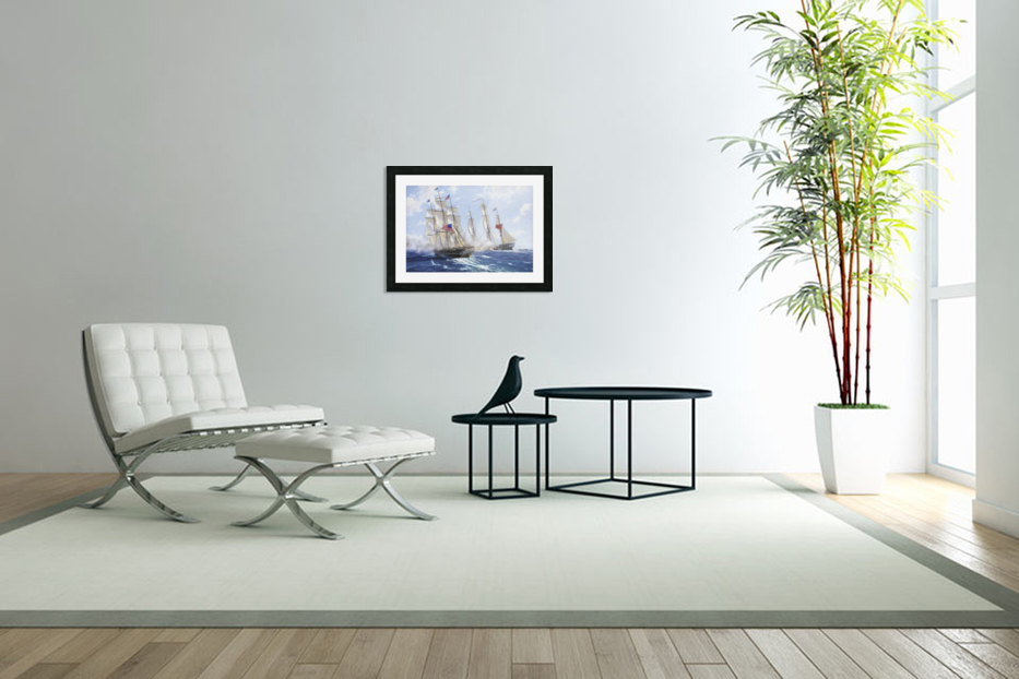 American boats by the sea in Custom Picture Frame