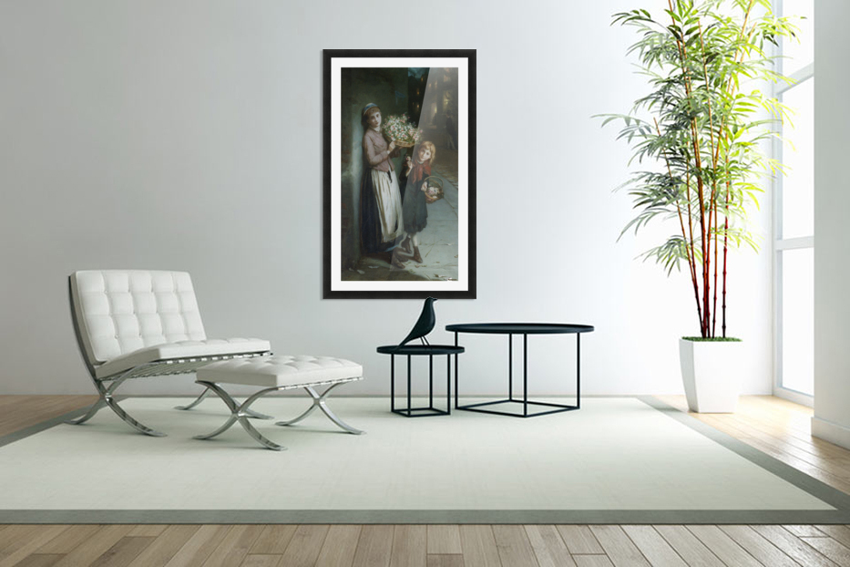 Two girls selling flowers in Custom Picture Frame