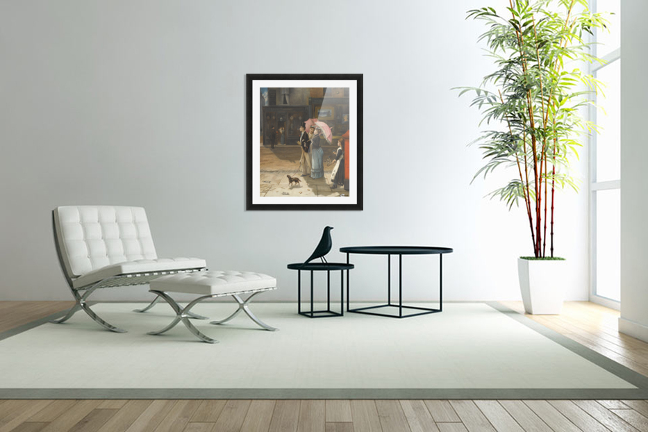 A young family walking the dog in Custom Picture Frame