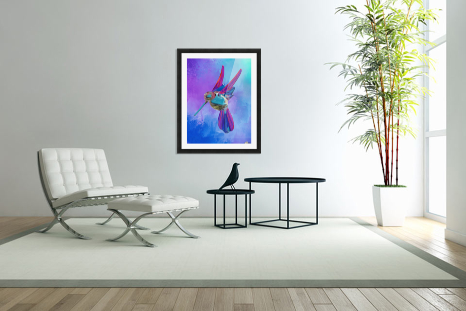 Glass Bird Abstract  in Custom Picture Frame