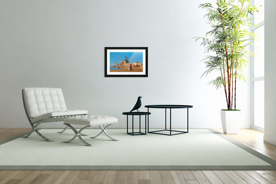 A Village on the Shores of the Nile in Custom Picture Frame