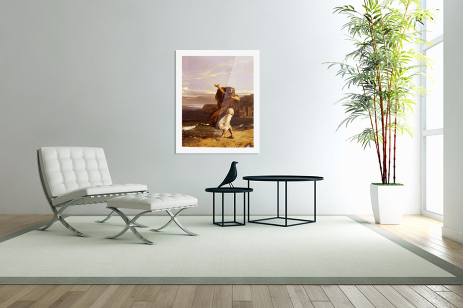 A young man in the wind in Custom Picture Frame