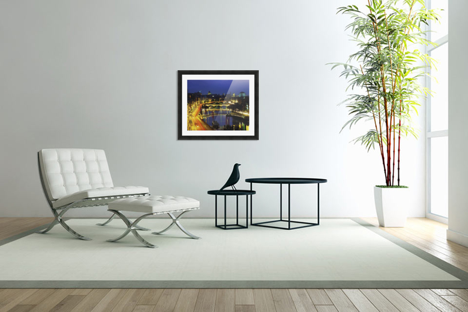 Dublin, Co Dublin, Ireland; View Of The River Liffey At Nighttime in Custom Picture Frame
