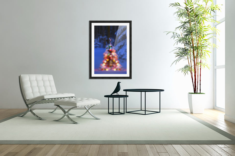Illuminated Christmas Tree In A Forest in Custom Picture Frame