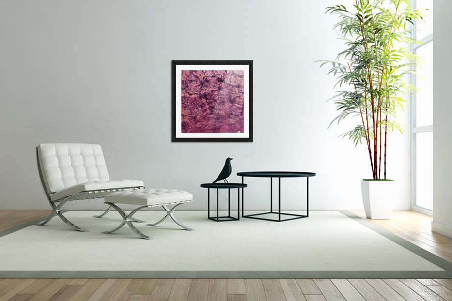 psychedelic grunge painting abstract texture in pink in Custom Picture Frame