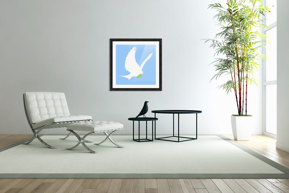 Dove And Olive Branch in Custom Picture Frame
