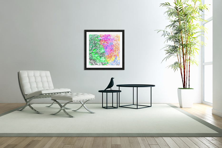 psychedelic splash painting abstract in pink purple green blue orange and yellow in Custom Picture Frame