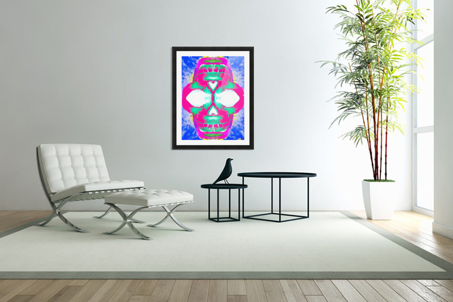 painting pink smiling skull head with blue and yellow background in Custom Picture Frame