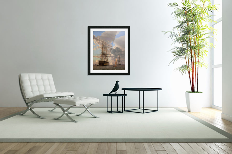 A Russian ship of the Line Asow and a Frigate at Anchor in the Roads of Elsinore in Custom Picture Frame
