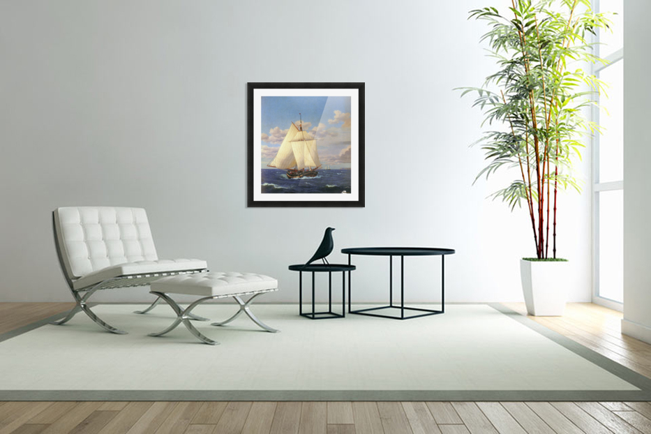Two boats sailing near the coast in Custom Picture Frame