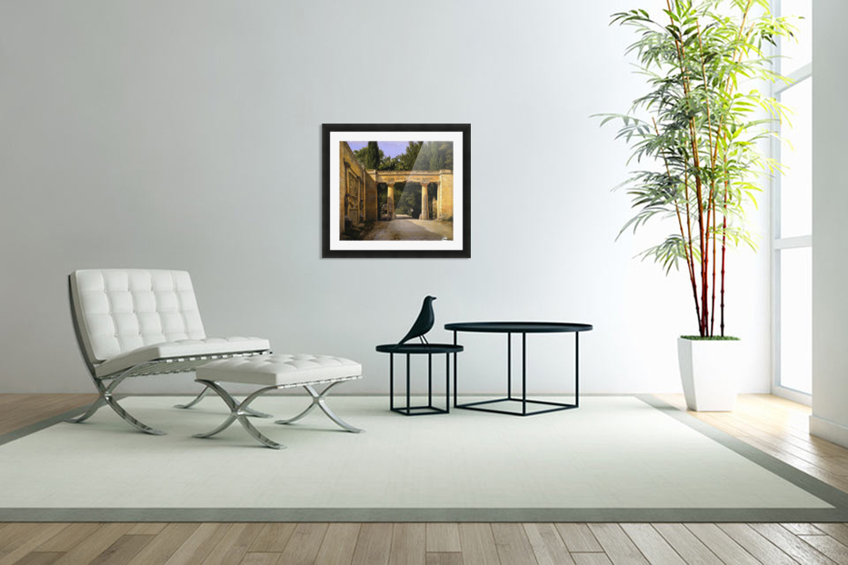 View of the Garden of the Villa Borghese in Rome in Custom Picture Frame
