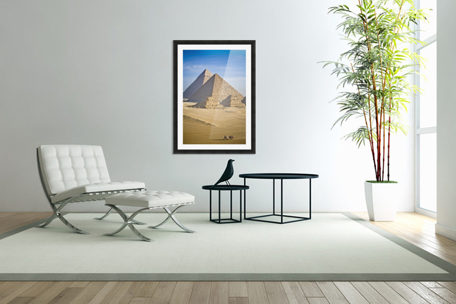 The Pyramids With Two Men On Camels Going By; Cairo,Egypt,Africa in Custom Picture Frame
