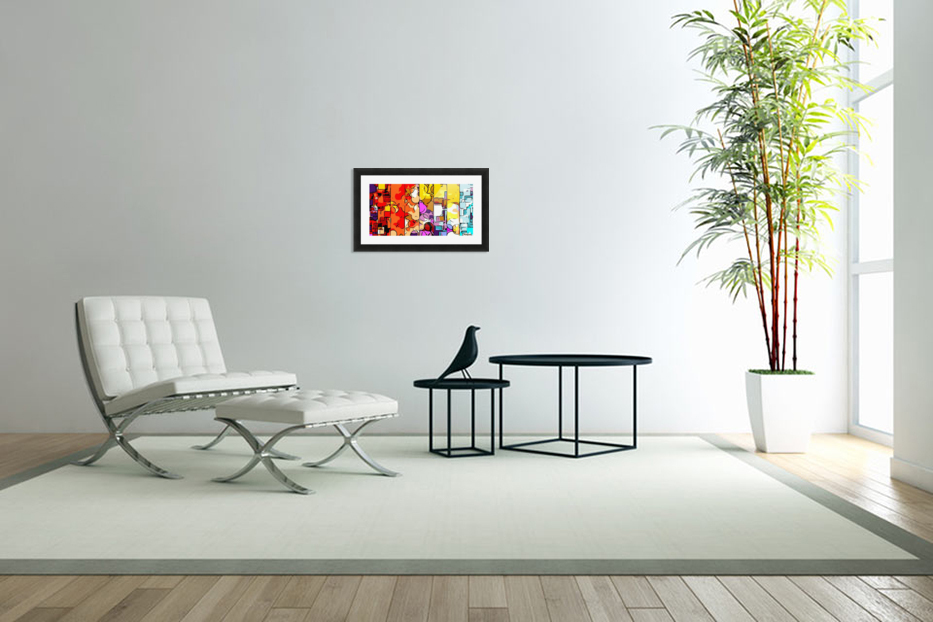 psychedelic geometric graffiti drawing and painting in orange pink red yellow blue brown purple and yellow in Custom Picture Frame