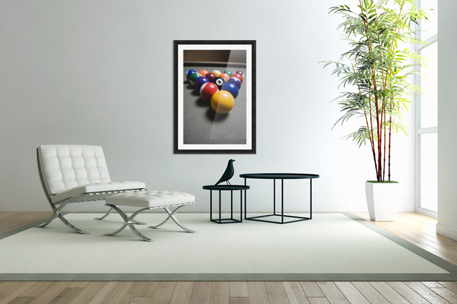 Pool Balls On A Billiard Table With The Eight Ball Facing Upwards in Custom Picture Frame