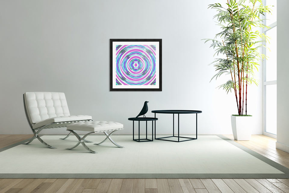 psychedelic graffiti circle pattern abstract in pink blue purple in Custom Picture Frame